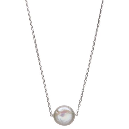 Single Floating 12-15mm Coin Cultured Freshwater Pearl Sterling Silver Chain Necklace, 18