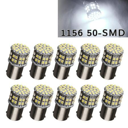 10x 1156 BA15S 50-SMD 6000K Camper Car Trailer Tail Brake Backup LED Light Bulbs (White)