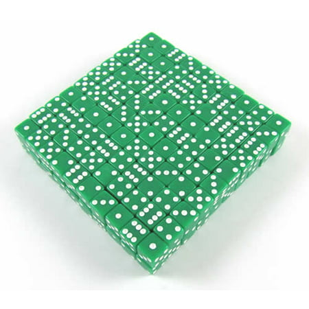 Bulk Dice (Green Opaque Dice with White Pips D6 8mm (5/16in) Bulk Pack of 200 Koplow)
