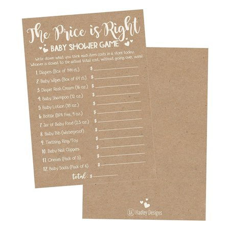 25 Rustic Guess If The Price Is Right Baby Shower Game Ideas For Boys Girls Fun Party Activities Cards Best Gender Neutral Reveal Guessing Funny Questions Bundle Pack For Couples Decorations Supplies - Halloween Dance Game Ideas