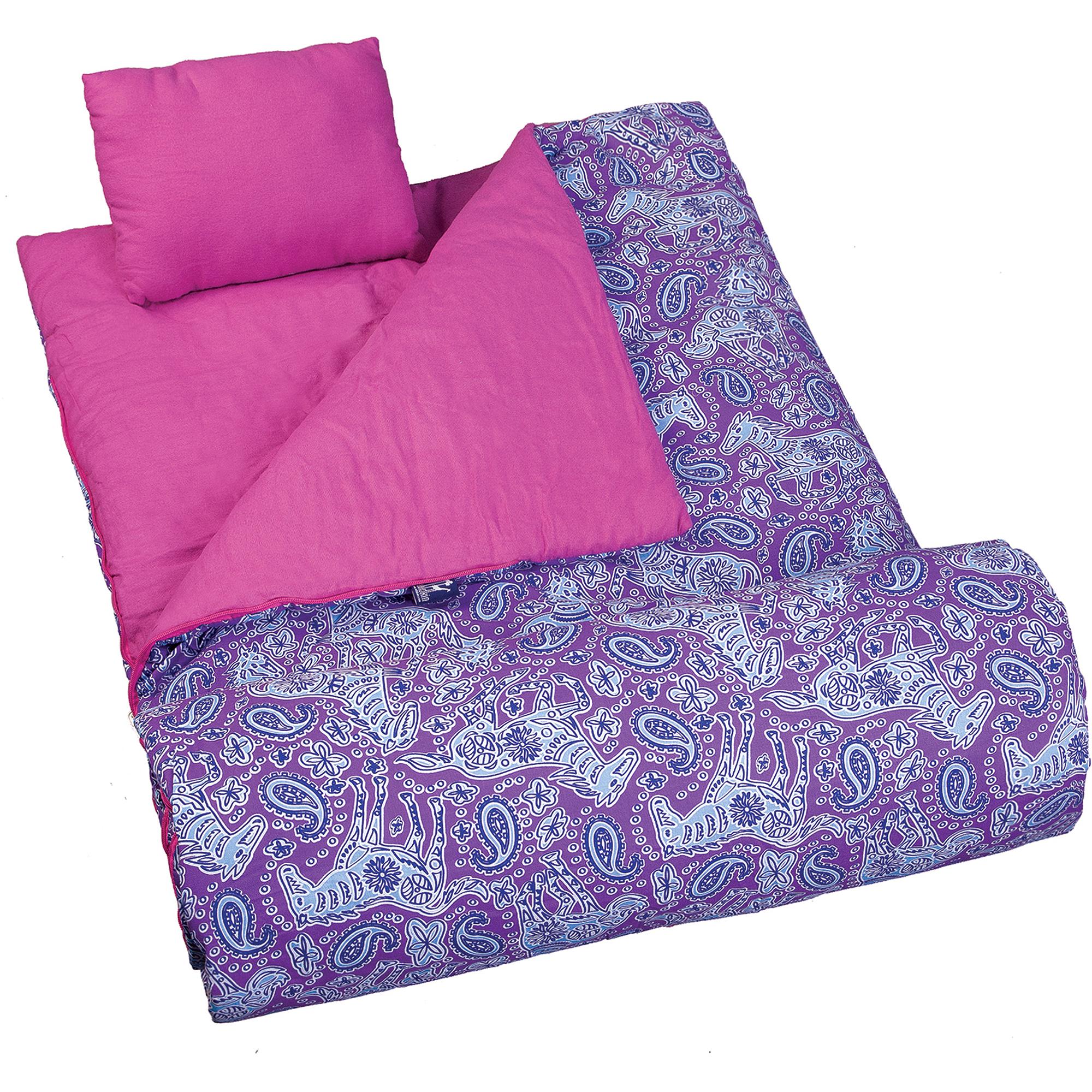 Wildkin Kids' Watercolor Ponies Sleeping Bag, Purple
