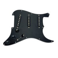 Seismic Audio Black Loaded Pickguard with 3 Single Coil Pickups 5 Way Switch Tone and Volume Black - SAGA52