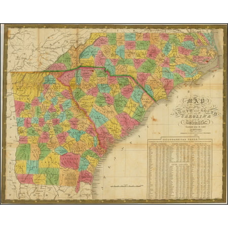 LAMINATED POSTER Map Of North and South Carolina And Georgia, Constructed from the Latest Authorities. 1831. POSTER PRINT 24 x