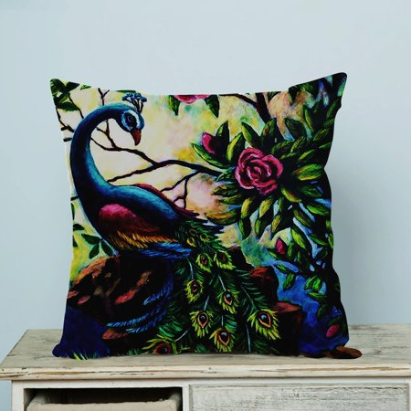 GCKG Artistic Paintings Graceful Peacock Pillow Case Pillow Cover Pillow Protector Two Sides 20 x 20 Inches