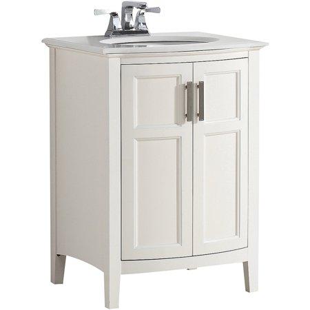 Brooklyn max wilshire 24 white bath vanity rounded front for Bathroom vanities brooklyn mcdonald avenue