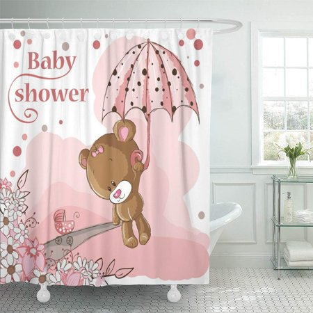 PKNMT Pink Love Baby Girl Bear and Umbrella Cartoon Congratulations Teddy Animal Greeting Bathroom Shower Curtain 66x72 inch
