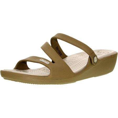 Crocs Womens Patricia Khaki Pearl White Ankle High Rubber Sandal   10M