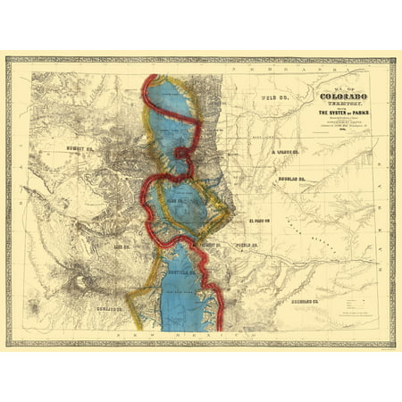 Old State Map   Colorado Parks   Mink 1865   23 X 30 62