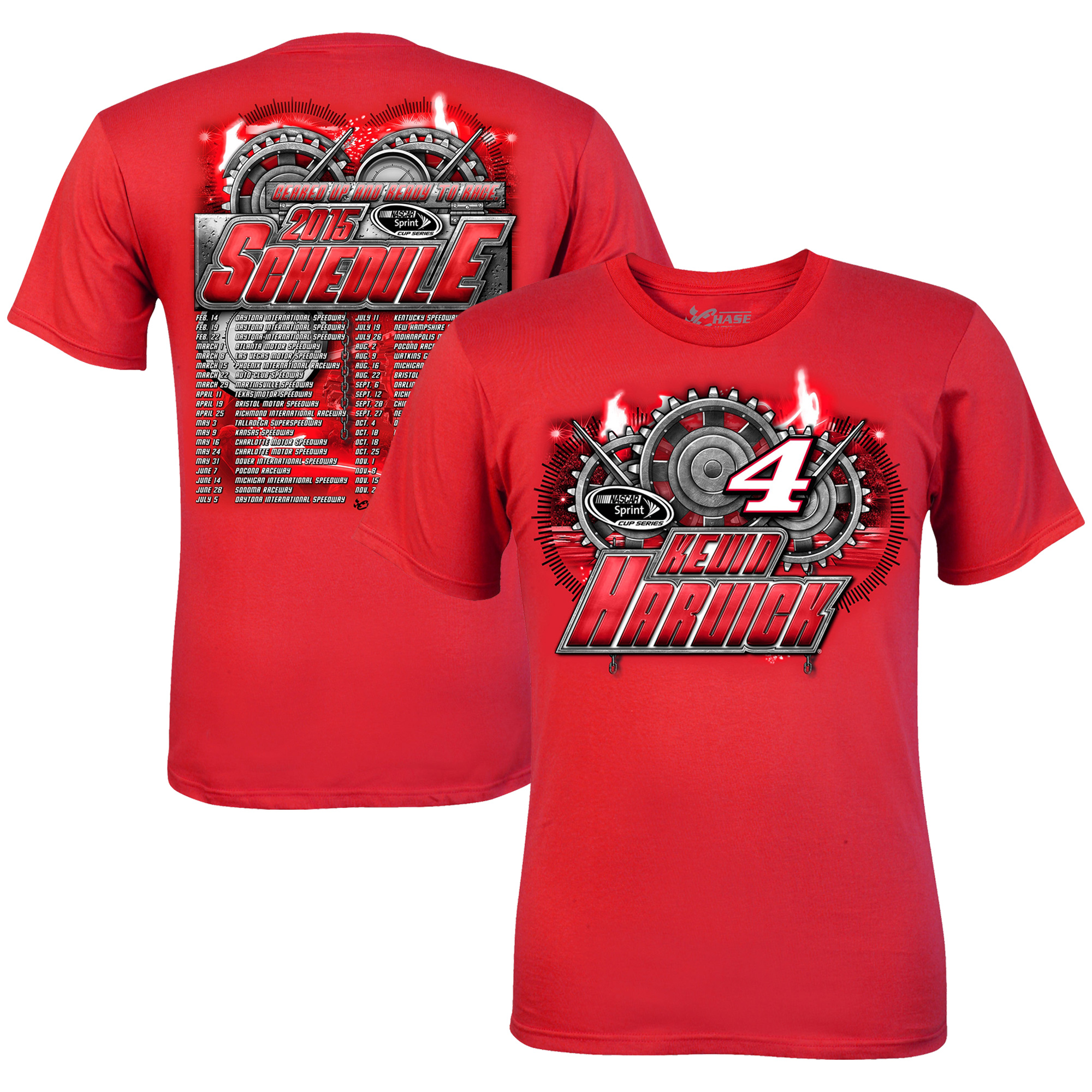 Mens Kevin Harvick Chase Authentics Red 2015 Schedule T-Shirt