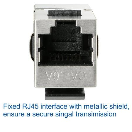 8 Packs Cat6A RJ45 Keystone Jacks In-Line Couplers Shielded Silver - image 1 of 7