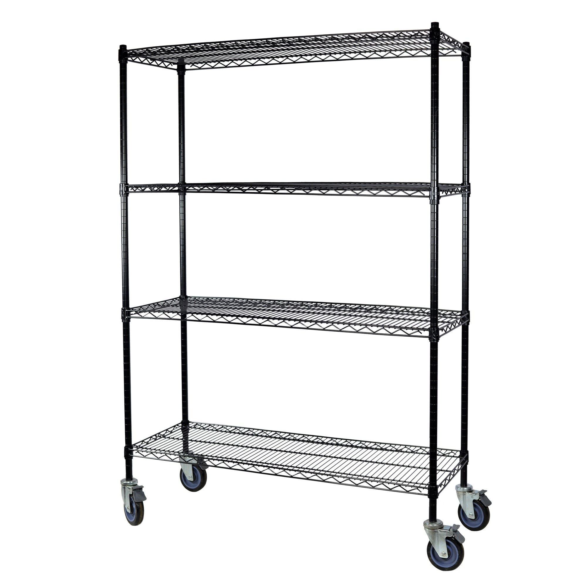 Storage Max Black Wire Shelving with Wheels, 18 x 36 x 74, 4 Shelves