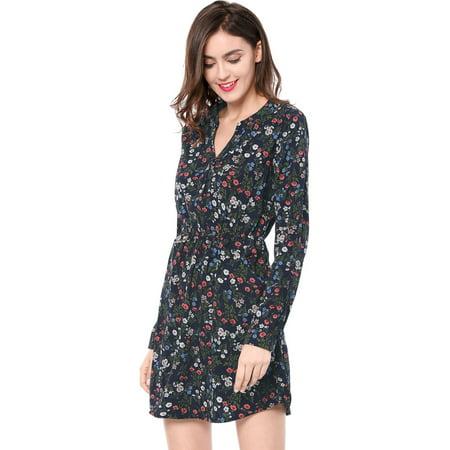 Women Floral Print Button Closure V-neckline Side Pockets Dress Blue XL (US