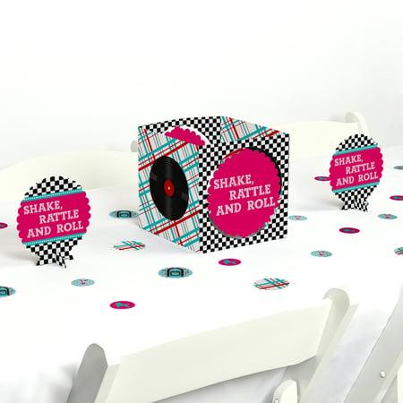 50's Sock Hop - 1950s Rock N Roll Party Centerpiece & Table Decoration Kit - 50s Sock Hop Decorations