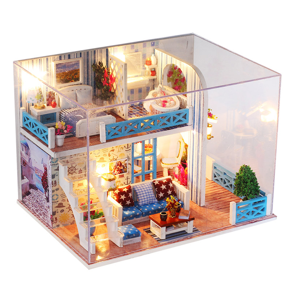 3D Wooden Craft Doll House Furniture DIY Miniature Dust Cover Dollhouse Toy 3