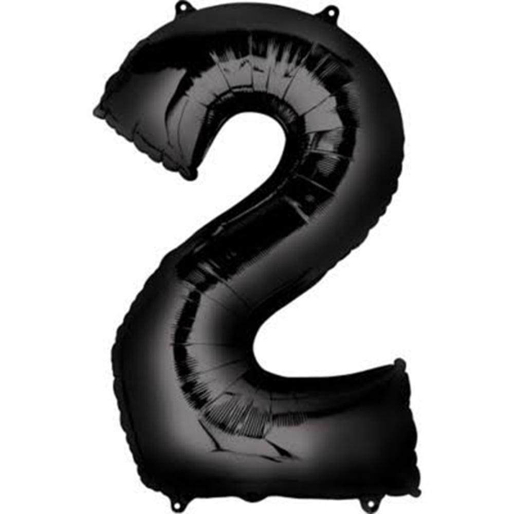 "Giant Black Number 2 Foil Balloon 33"""