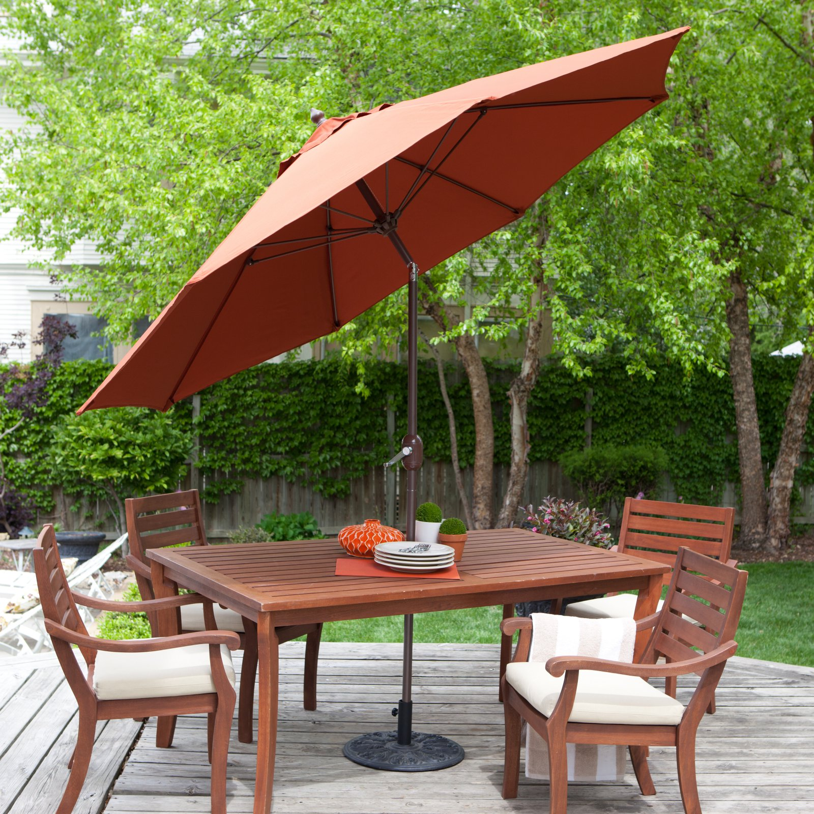 coral coast 9-ft. spun-poly push button tilt patio umbrella with 40 9 Ft Umbrella Base