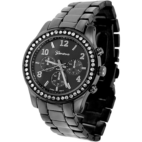 Brinley Co. Women's CZ Accented Link Watch