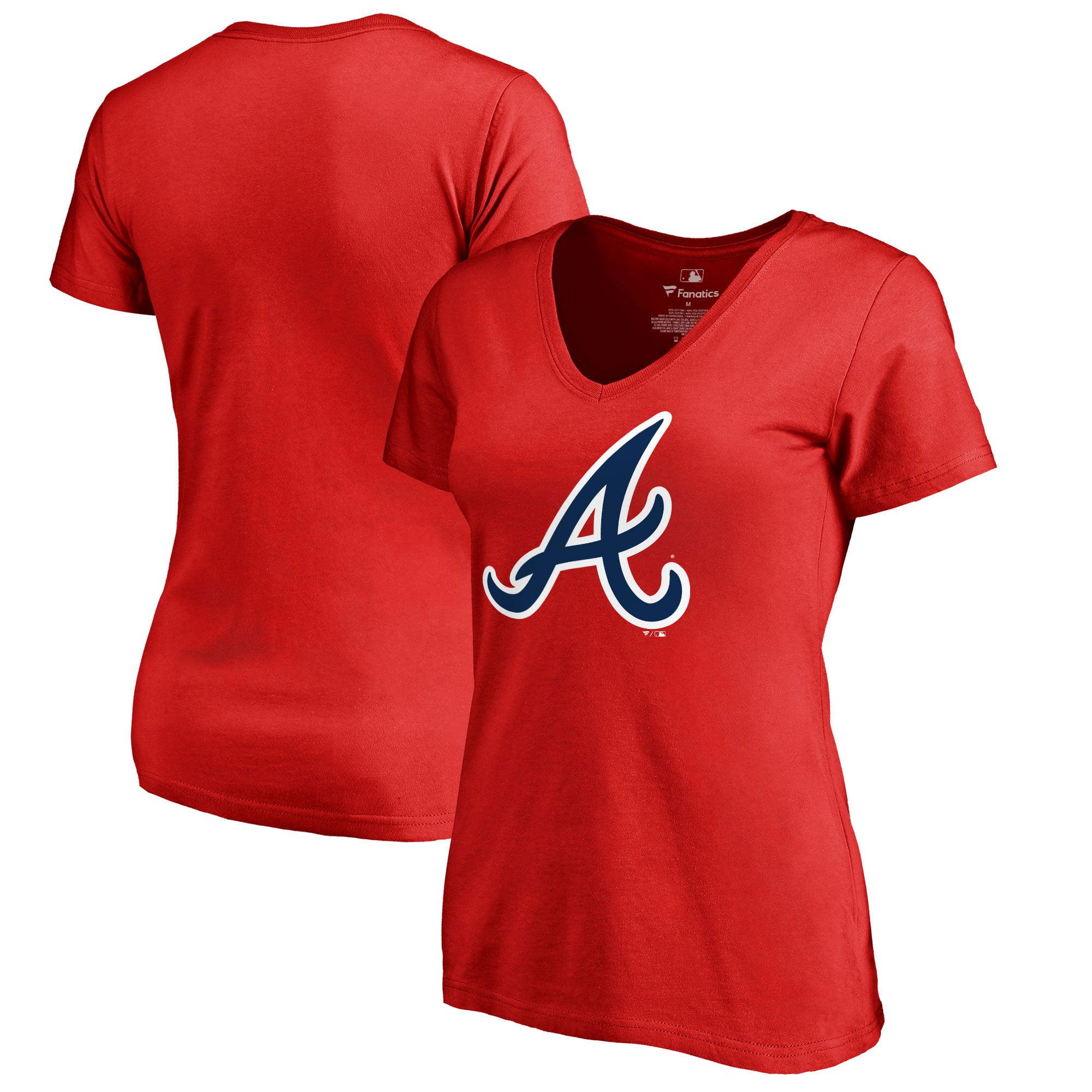 Atlanta Braves Fanatics Branded Women's Primary Logo V-Neck T-Shirt - Red