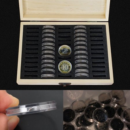 50Pcs 25/27/30mm Round Coins Holders Wooden Storage Box Container Display (Round Wooden Box)
