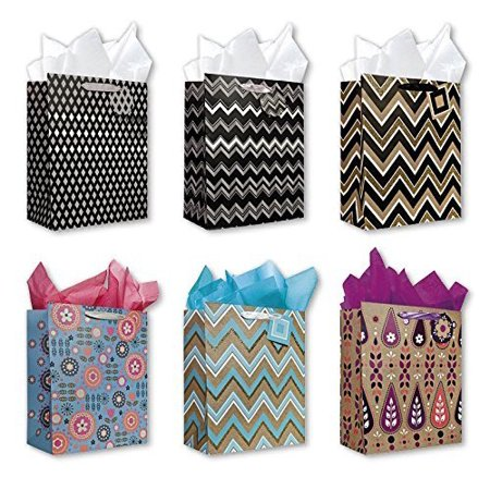 All Occasion Birthday Party Gift Bags Set of 6 Large Birthday Gift Bags W/ Flowers, Decorative Stripes, Tags, and Tissue Paper for Kids, Men, Women, Boys, Girls - Gift Bags For Girls