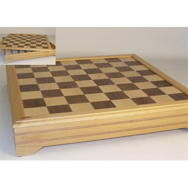 WW Chess 50455ICT Inlaid Walnut and Beechwood Chest with Removable Chess Board and Dividers
