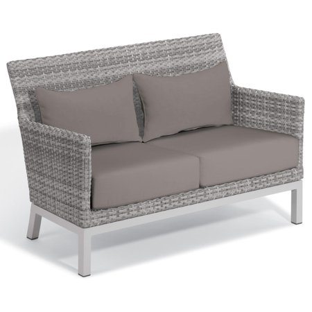 Argento Wicker Patio Loveseat W/ Stone Cushions & Lumbar Pillows By Oxford Garden ()