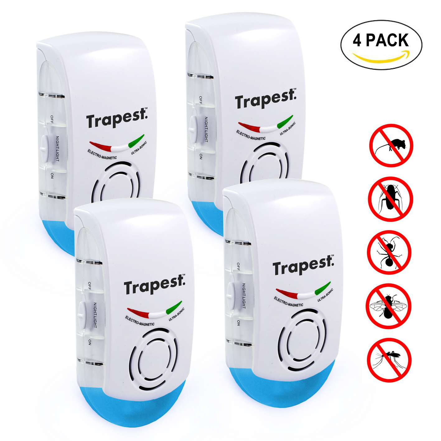 3-in-1 Ultrasonic Pest Repeller by Trapest - Electromagnetic Pest Control with Night Light - Plug-in, No Maintenance