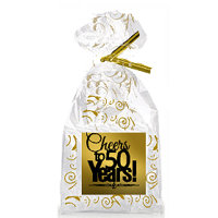 CakeSupplyShop Item#050CTC 50th Birthday / Anniversary Cheers Metallic Gold & Gold Swirl Party Favor Bags with Twist Ties