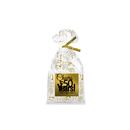 CakeSupplyShop Item#050CTC 50th Birthday / Anniversary Cheers Metallic Gold & Gold Swirl Party Favor Bags with Twist - 50th Birthday Party Favors Ideas