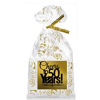 CakeSupplyShop Item#050CTC 50th Birthday / Anniversary Cheers Metallic Gold & Gold Swirl Party Favor Bags with Twist Ties