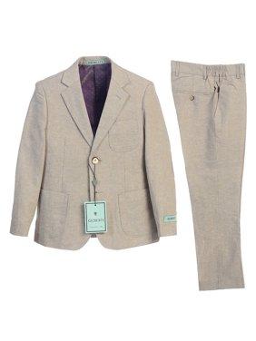 Gioberti Boys Stone Back Vent Button Jacket Pants 2 Pcs Linen Suit 8-20