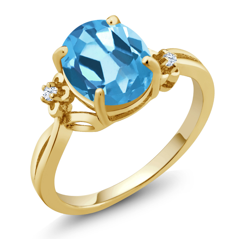 2.87 Ct Oval Swiss Blue Topaz 14K Yellow Gold Ring by