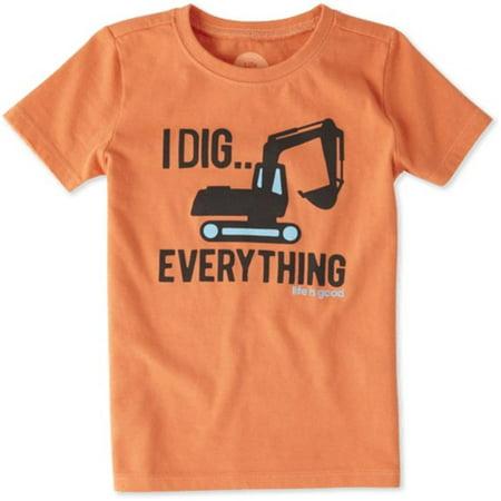 Life Is Good Boy Toddler Excavator Dig Crusher T Shirt