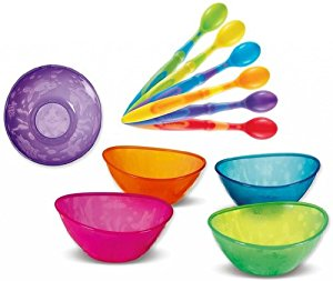 Munchkin 10-Pack Soft-Tip Infant Spoons with 5 Pack Multi Bowl Set by Munchkin