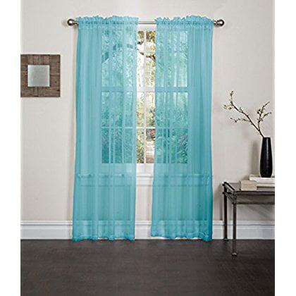 Lisa Sheer Curtain Panel Aqua Walmart Com