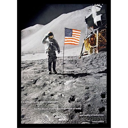Professionally Framed American Moon Landing Photograph 18X12 With Robert Goddard Quote Art Poster Print Historical Nasa Space Travel American Flag