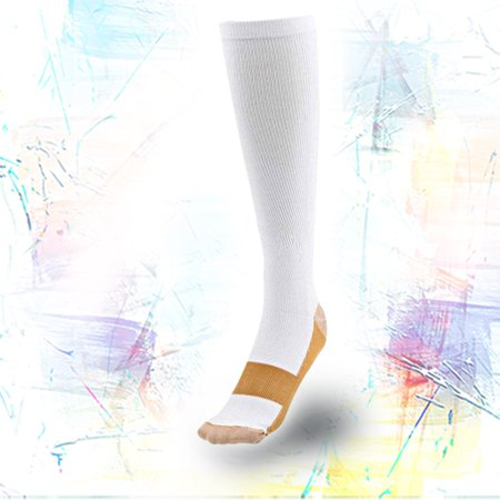 caaecaeb31 IGIA Knee High Copper Threaded Compression Socks-Relieves pain and aches on  feet (1 Pair White Copper, Large/X-large) - Walmart.com