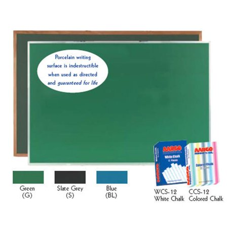 - Aarco Products DS3648S Porcelain on Steel Chalkboard Satin Anodized Aluminum Frame - Slate