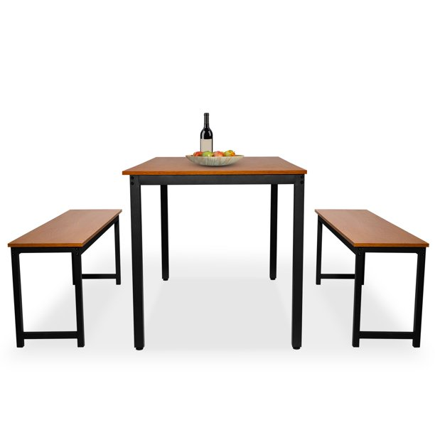 Dining Room Set for 4, 3 Pieces Farmhouse Kitchen Table Set with Two Benches, Small Dining Table Sets with Metal Frame and MDF Board, Brown Modern Dining Furniture Set for Home, Cafeteria, L5404