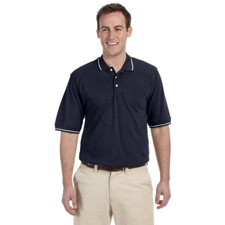 Branded Harriton Mens 56 oz Tipped Easy Blend Polo Shirt - NAVY/ WHITE - M (Instant Saving 5% & more on min 2) - Harriton Mens Easy Blend