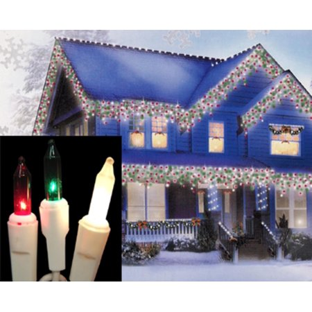 Set of 100 Red, Green & Frosted White Mini Icicle Christmas Lights -  White - Set Of 100 Red, Green & Frosted White Mini Icicle Christmas