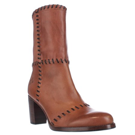 Womens Patricia Nash Angela Stitched Western Mid Calf Boots   Tan Patchwork