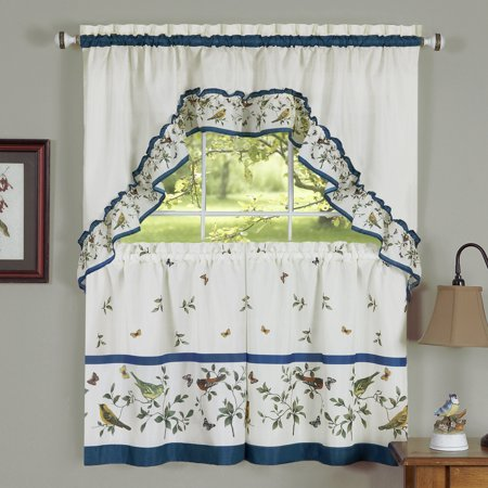 Birds Kitchen Curtain Tier Swag Set 36 In Long