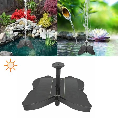 Solar Fountain Pump, Butterfly Shaped Free Standing Bird Bath Fountain Solar Panel Water Pump for Birdbath, Pond, Pool,Garden and Lawn, Black - image 2 of 8