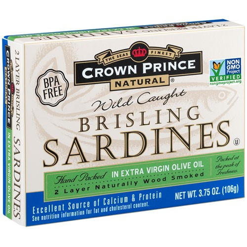 Crown Prince Natural Canned Wild Caught Brisling Sardines, in Pure Olive Oil, 3.75 Oz by Crown Prince