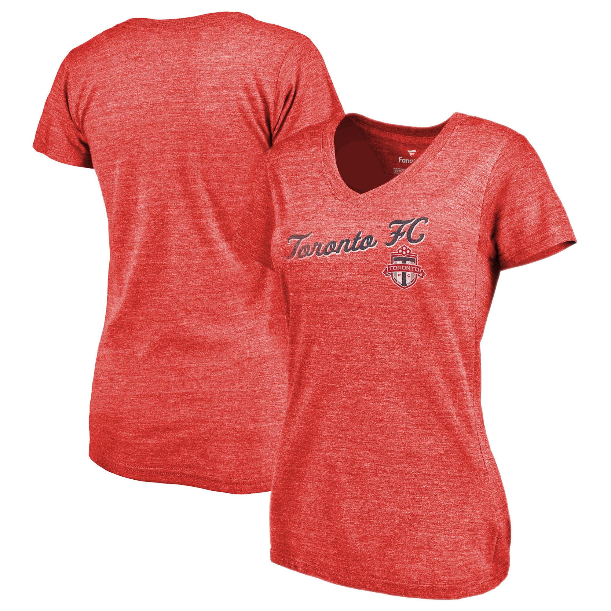Toronto FC Fanatics Branded Women's Rising Script V-Neck Tri-Blend T-Shirt - Heathered Red