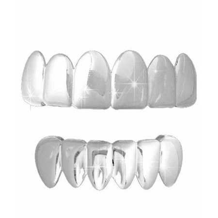 Platinum Silver Tone Hip Hop Teeth Grillz Top & Bottom Grill Set - Fake Teeth Grillz