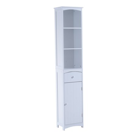 "Colonial White Cabinets - HOMCOM 67"" Modern Country Compact Free Standing Bathroom Storage Cupboard Cabinet - White"