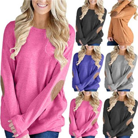 5ee07d91f1716 Women Long Sleeve T-Shirt Round Neck Loose Bat Shirt Pullover Sweater Top  Casual - Walmart.com