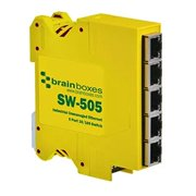 Brainboxes Industrial Compact Ethernet 5 Port Switch DIN Rail Mountable, Yellow